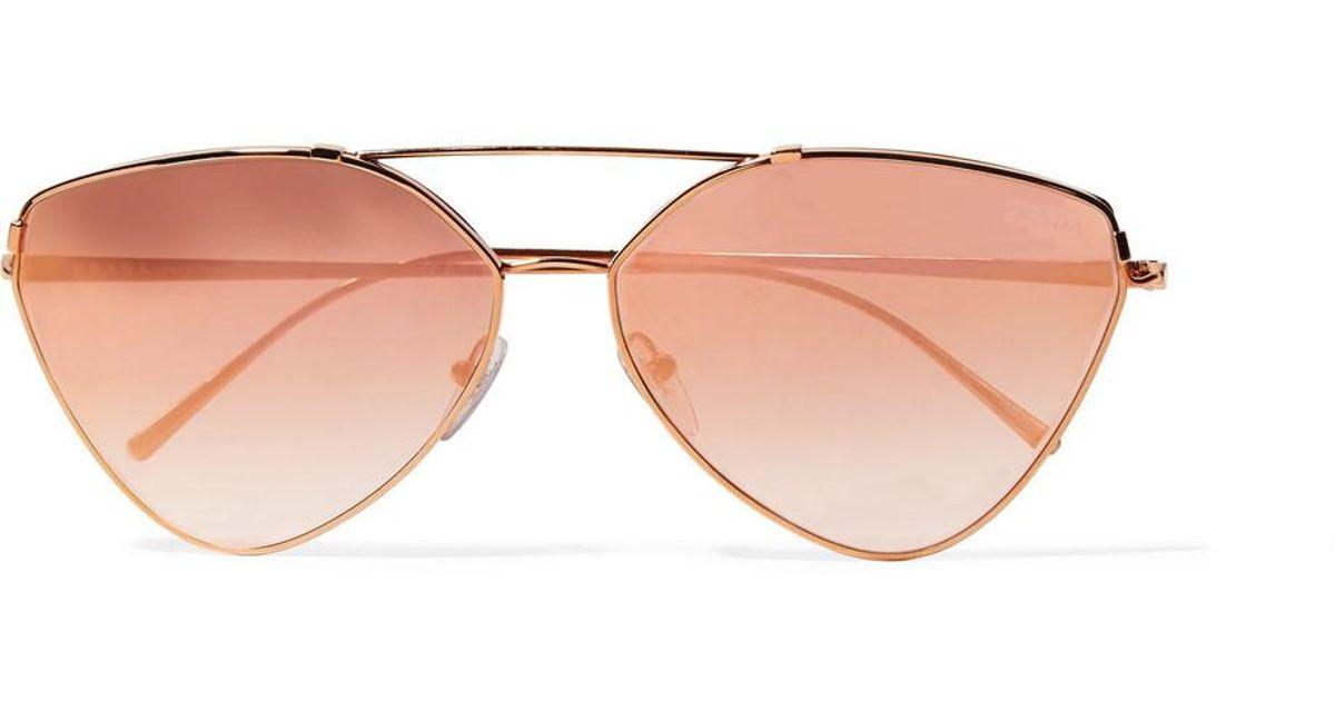cb84171616f1 Lyst - Prada Cat-eye Rose Gold-tone Mirrored Sunglasses in Pink