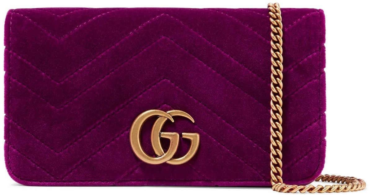 0c5f9ed45c27 Lyst - Gucci Gg Marmont Micro Quilted Velvet And Textured-leather Shoulder  Bag in Purple