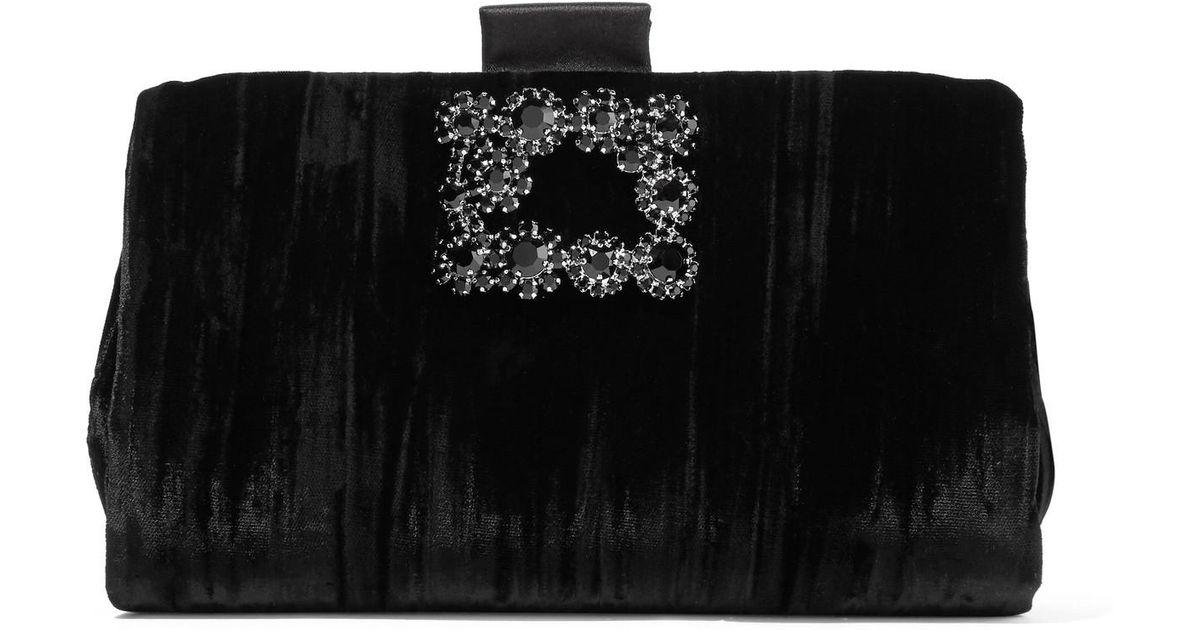 Lyst - Roger Vivier Crystal-embellished Crushed-velvet Clutch in Black 2ba60693895b4