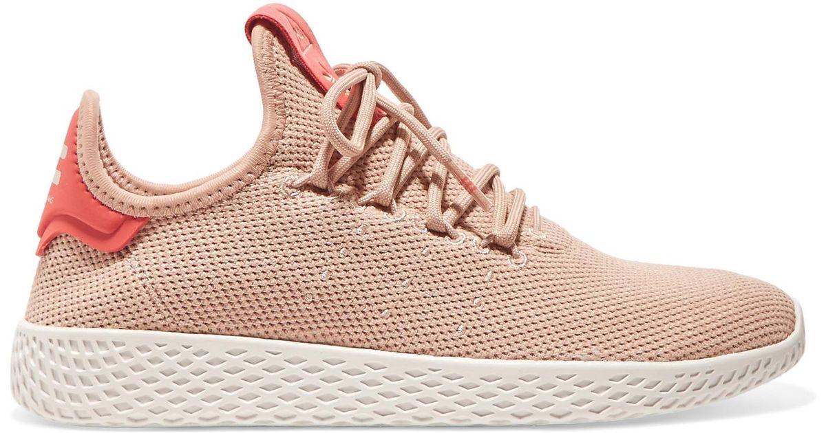 9eef1ab1b adidas + Pharrell Williams Tennis Hu Stretch-knit Sneakers in Pink - Lyst