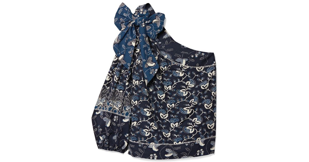 Low Shipping Fee For Sale Cheap Manchester Great Sale Asima One-shoulder Embroidered Printed Cotton-blend Top - Storm blue Ulla Johnson 2018 Newest Cheap Price Outlet Websites q4IsTXVpm