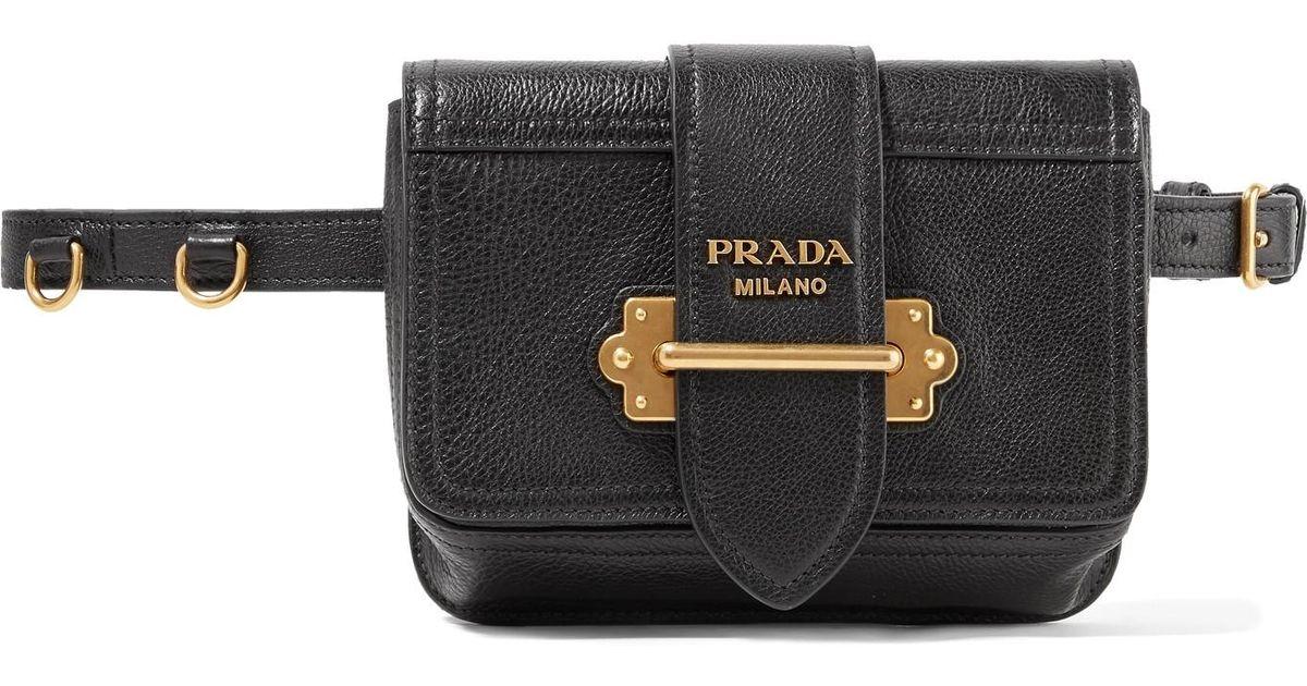 520fcf1fd300 Prada Cahier Textured-leather Belt Bag in Black - Lyst