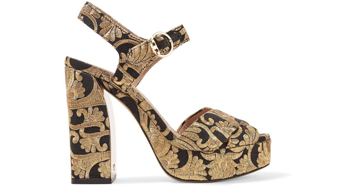5cac4ae1b4cc0 Lyst - Tory Burch Brocade Sandals in Metallic