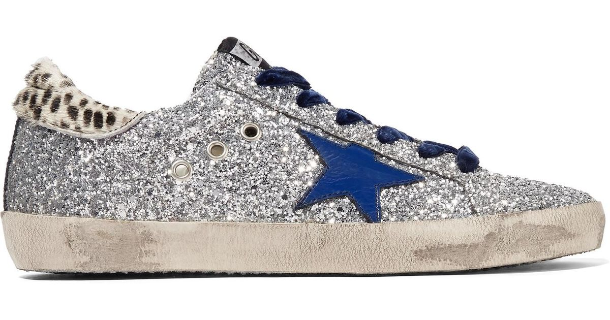 8714fbcbdae4 Golden Goose Deluxe Brand Super Star Glittered Leather And Calf Hair  Sneakers in Metallic - Lyst