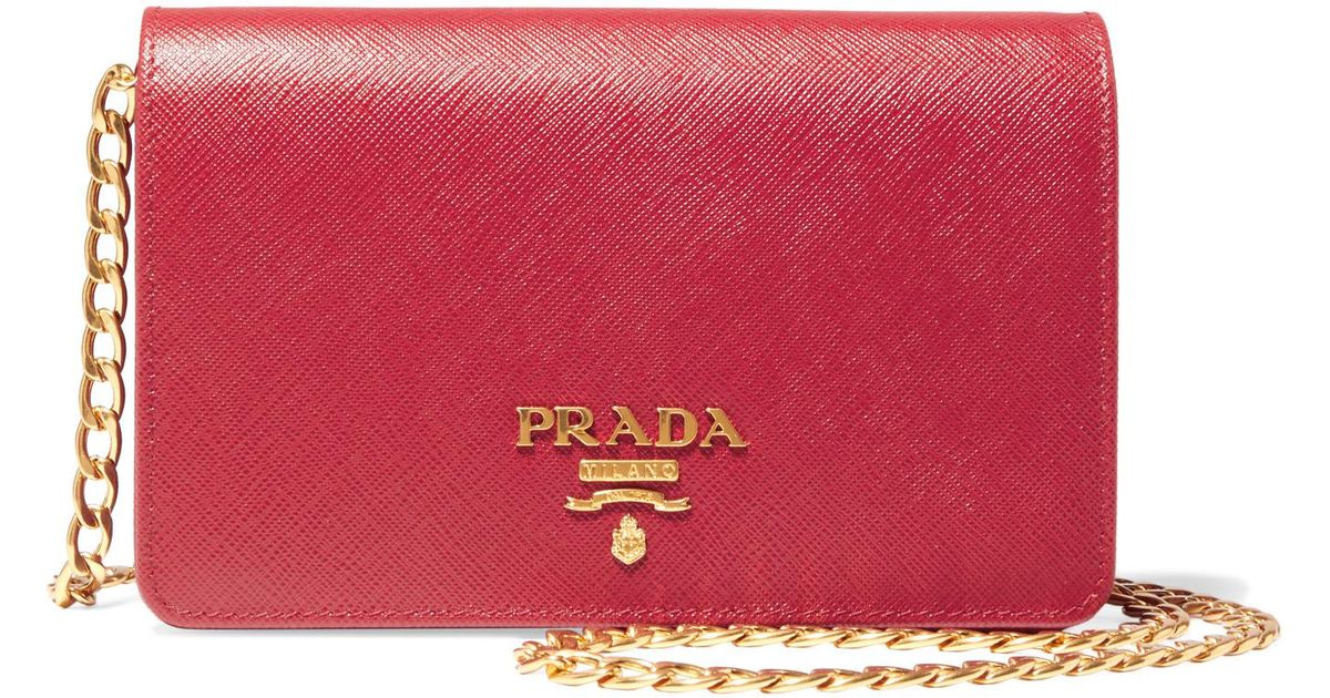 e43b392e3ddf Lyst - Prada Wallet On A Chain Textured-Leather Shoulder Bag in Red