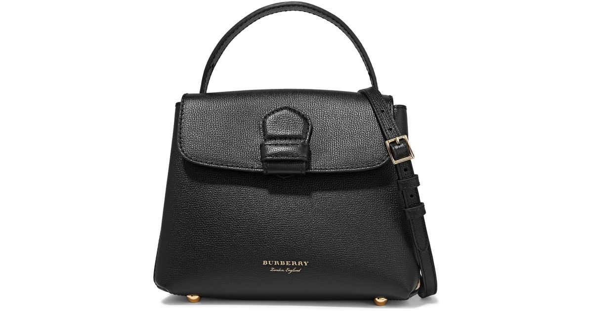 Burberry Textured-leather And Checked Canvas Shoulder Bag in Black - Lyst 9598893b81