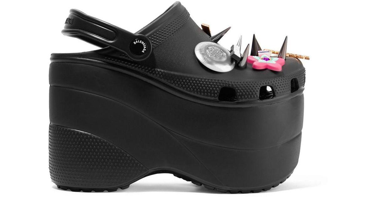 50506486f7b62d Lyst - Balenciaga + Crocs Embellished Rubber Platform Sandals in Black