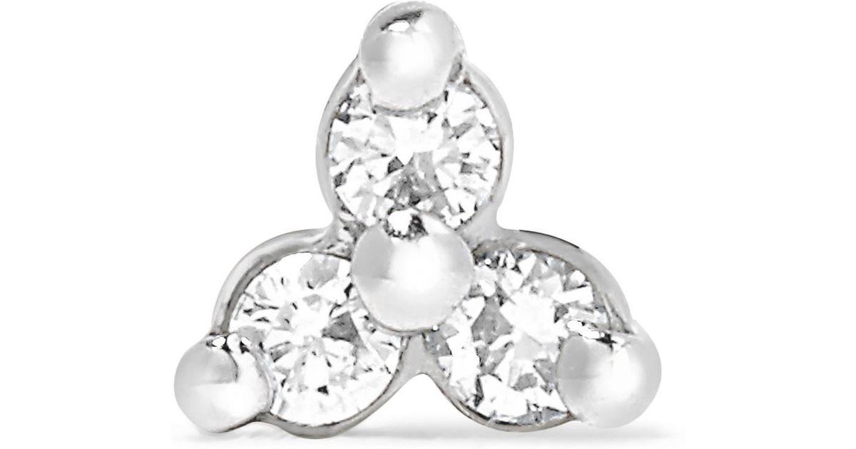 lyst maria tash 18 karat white gold diamond earring white gold one Diamond Pendant Earrings lyst maria tash 18 karat white gold diamond earring white gold one size in white