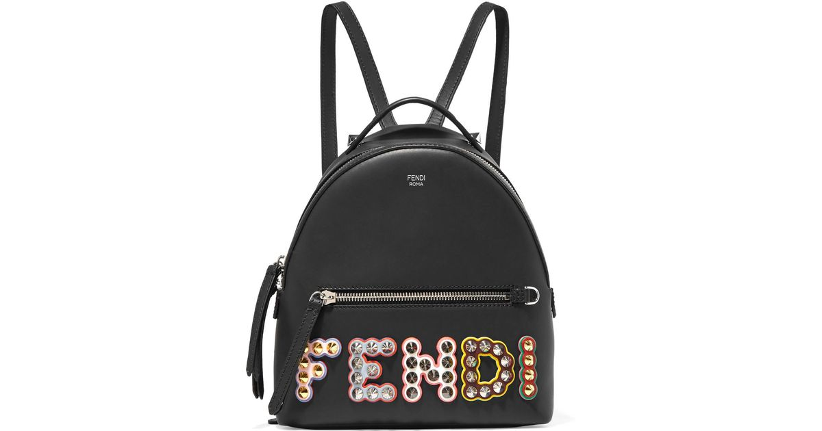 99b7a0b3e8c8 Lyst - Fendi Mini Calfskin Backpack With Studs in Black