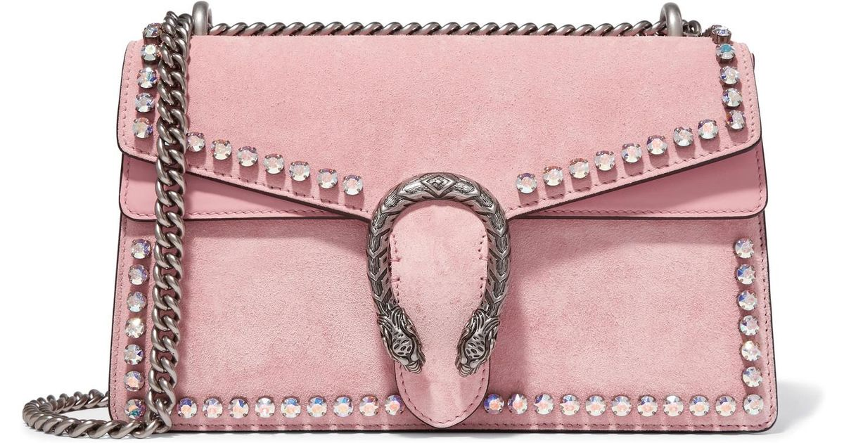 95be0cea9dee Gucci Dionysus Crystal-embellished Suede Shoulder Bag in Pink - Lyst