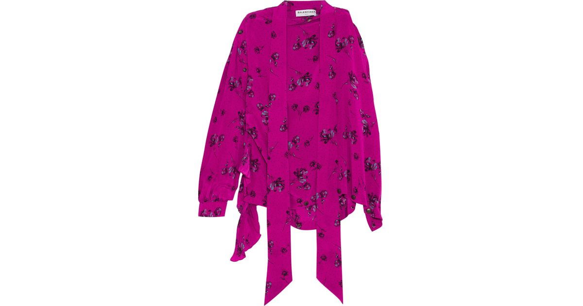 Asymmetric Printed Silk Crepe De Chine Blouse - Pink Balenciaga Cheap 100% Authentic Clearance Excellent 2018 New For Sale Free Shipping Many Kinds Of JKXEg0qI
