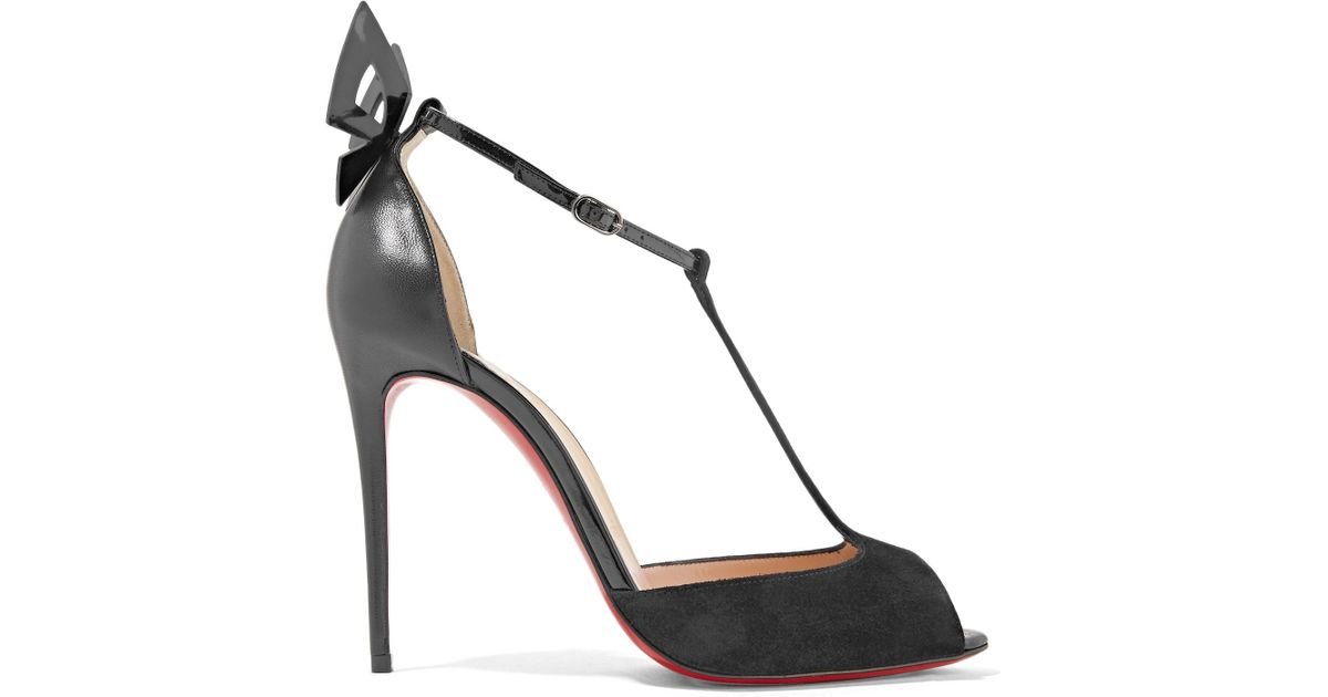 f458128ac63c Lyst - Christian Louboutin Aribak 100 Bow-embellished Leather And Suede T-bar  Sandals in Black