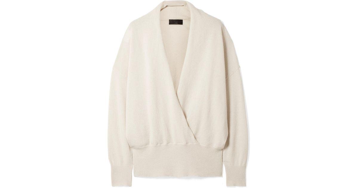 aae18e1aae Lyst - Nili Lotan Lakota Wrap-effect Cashmere Sweater in White
