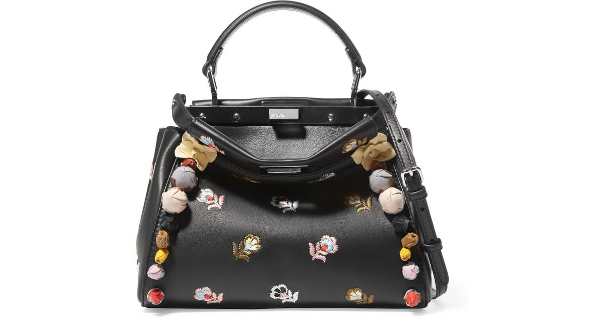 6e47df87db97 Lyst - Fendi Peekaboo Mini Appliquéd Embroidered Leather Shoulder Bag in  Black