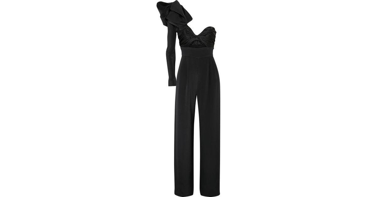18d5fe22883 Johanna Ortiz Love Spell One-shoulder Cutout Silk-faille And Satin Jumpsuit  in Black - Lyst
