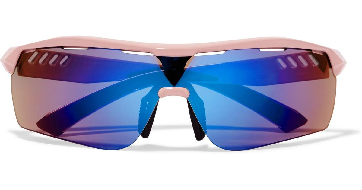 58f663cec687 Stella McCartney Turbo Wrap D-frame Acetate Mirrored Sunglasses in Blue -  Lyst