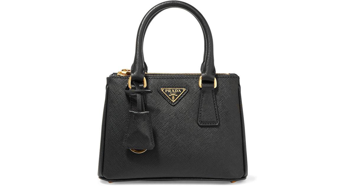 fe07d2c443 Prada Galleria Baby Textured-Leather Tote in Black - Lyst