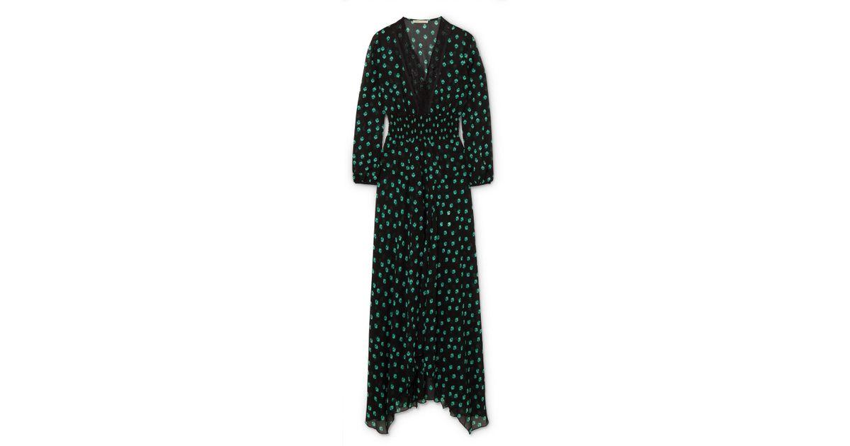 Asymmetric Lace-trimmed Printed Chiffon Dress - Black Maje Best Wholesale Online Clearance Store 0tCNr