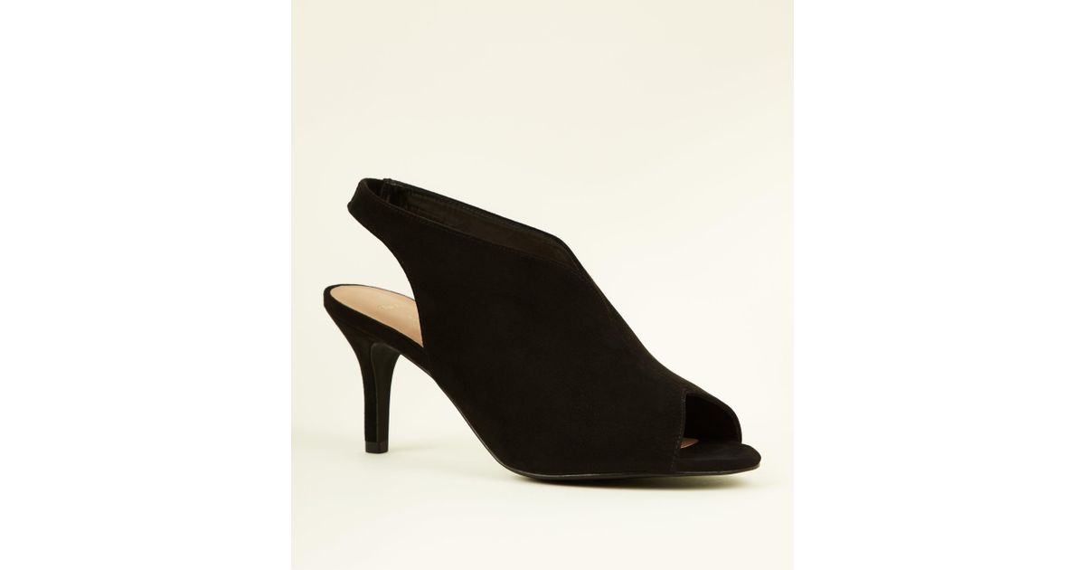 482f83a5428d New Look Wide Fit Black Suedette Peep Toe Slingback Heels in Black - Lyst