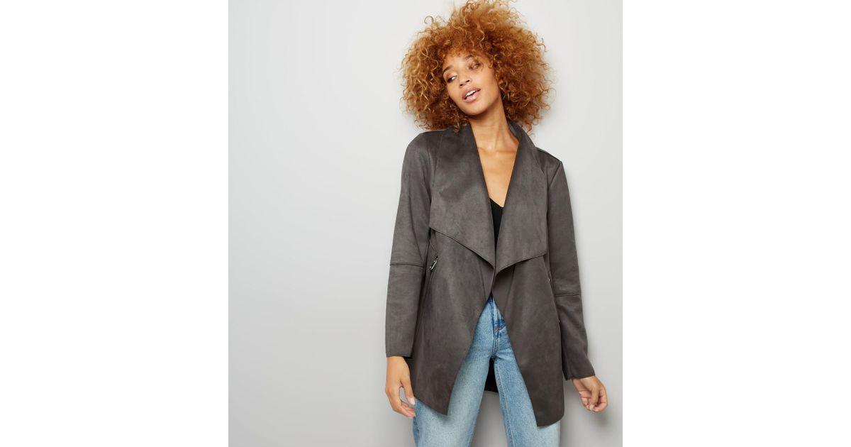 New Look Dark Grey Suedette Waterfall Jacket In Gray Lyst