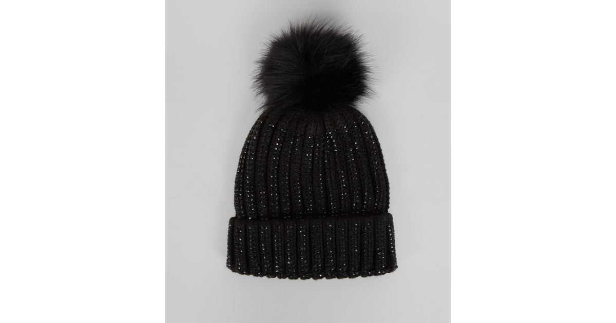New Look Black Diamante Embellished Bobble Hat in Black - Lyst eff0350f050