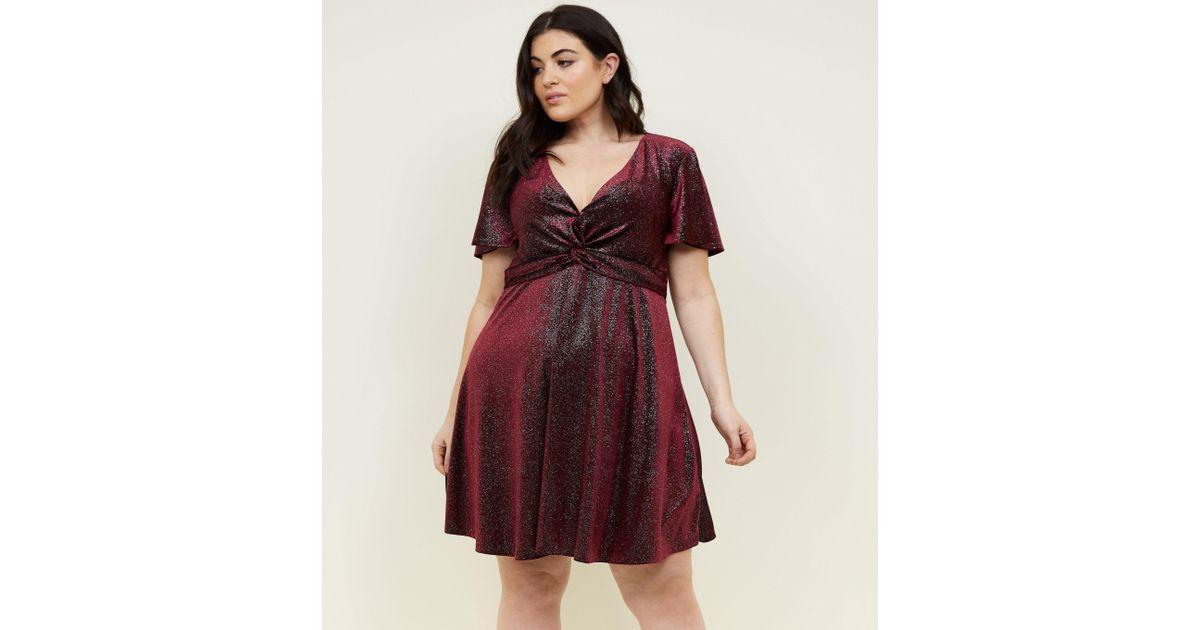9ce4c0031c9a New Look Curves Burgundy Glitter Velvet Twist Dress in Red - Lyst