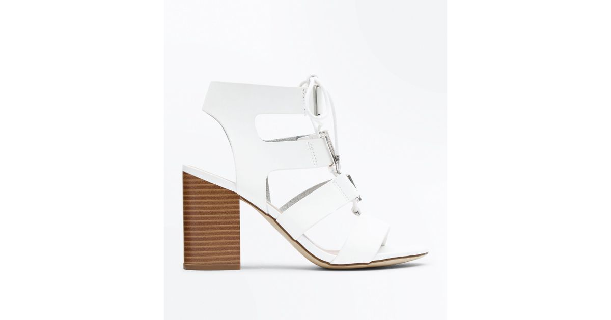 1a2726f8f36 New Look White Lace Up Wooden Block Heel Sandals in White - Lyst