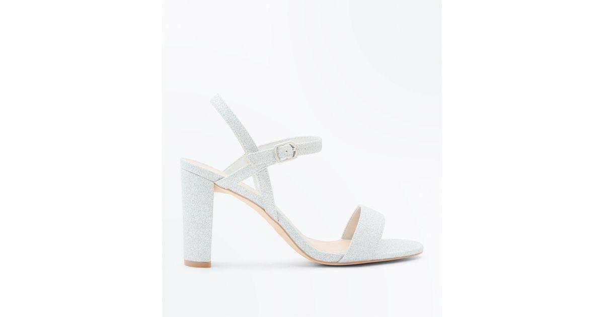 ae3f22303007 New Look Wide Fit Silver Glitter Block Heel Sandals in Metallic - Lyst