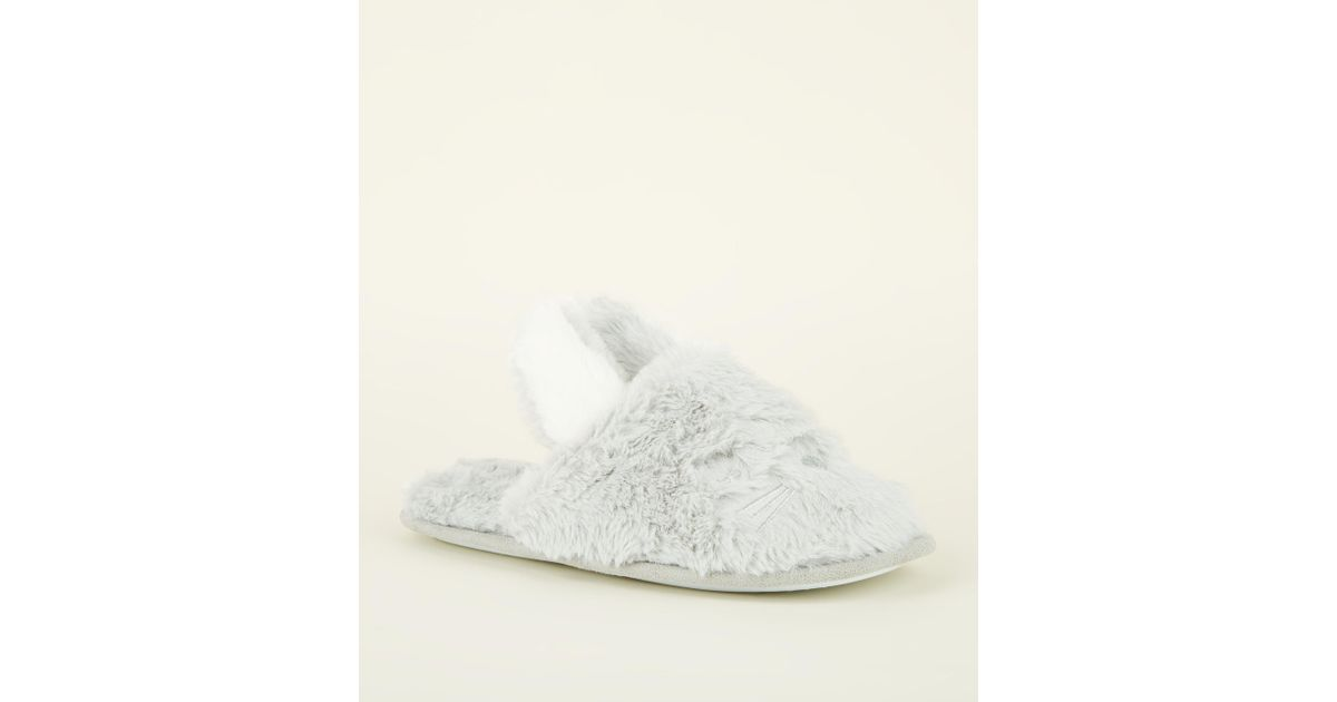 1c0350b35 New Look Grey Fluffy Bunny Mule Slippers in Gray - Lyst