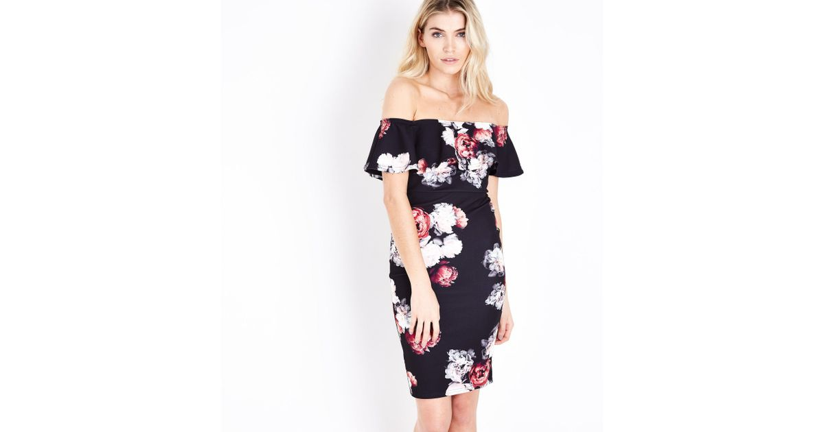 449916edcf5b New Look Black Floral Print Bardot Bodycon Midi Dress in Black - Lyst
