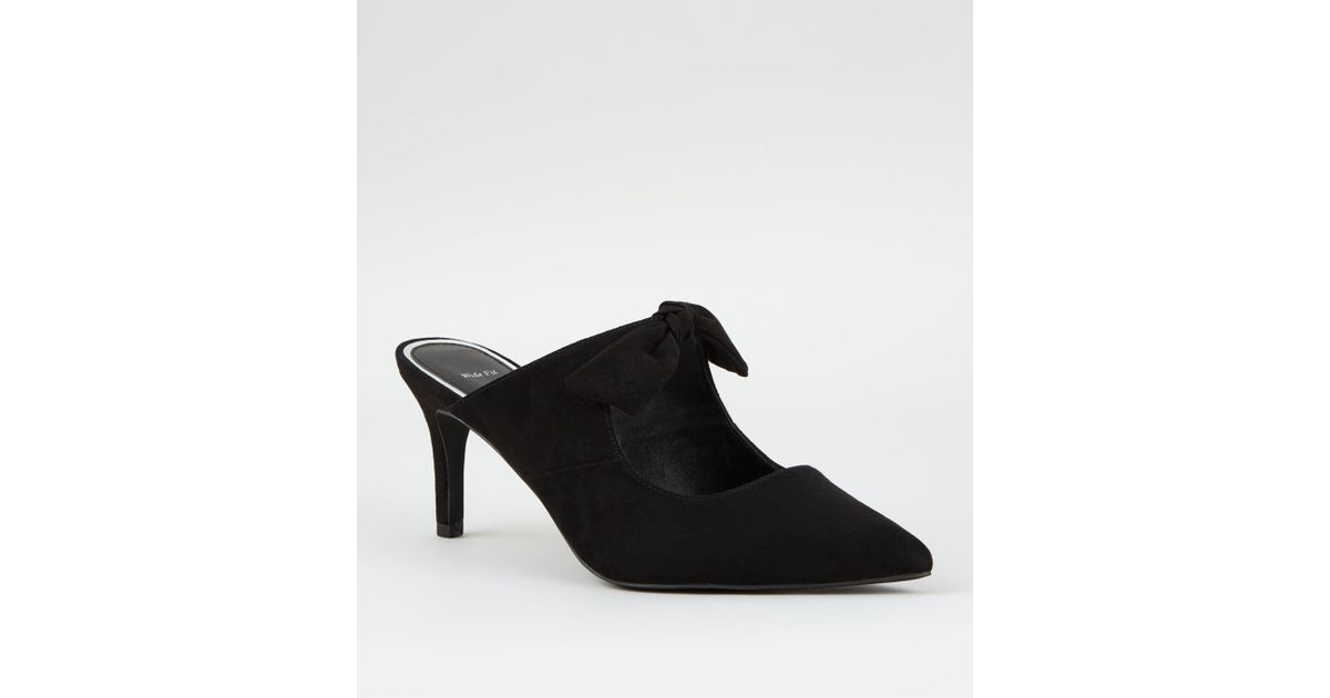 bbc72f6df02 New Look Wide Fit Black Suedette Pointed Bow Front Mules in Black - Lyst