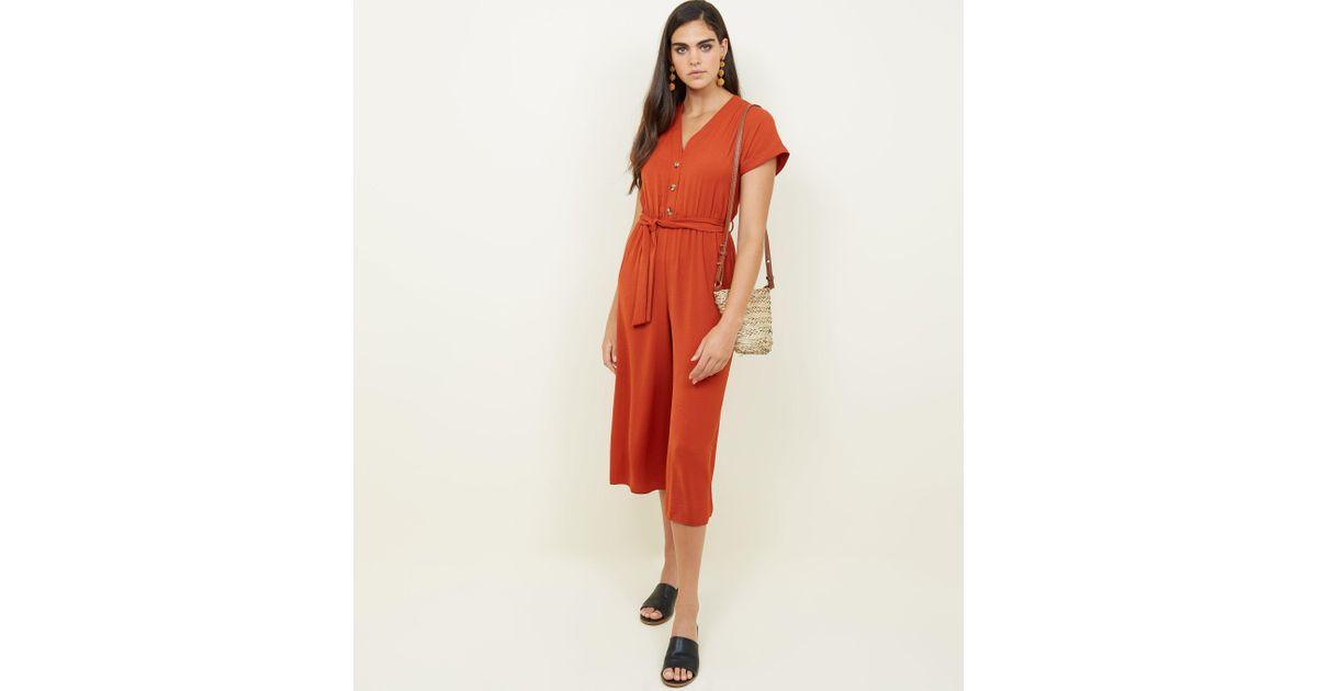 e8bf948909 New Look Orange Button Front Linen-look Jumpsuit in Orange - Lyst