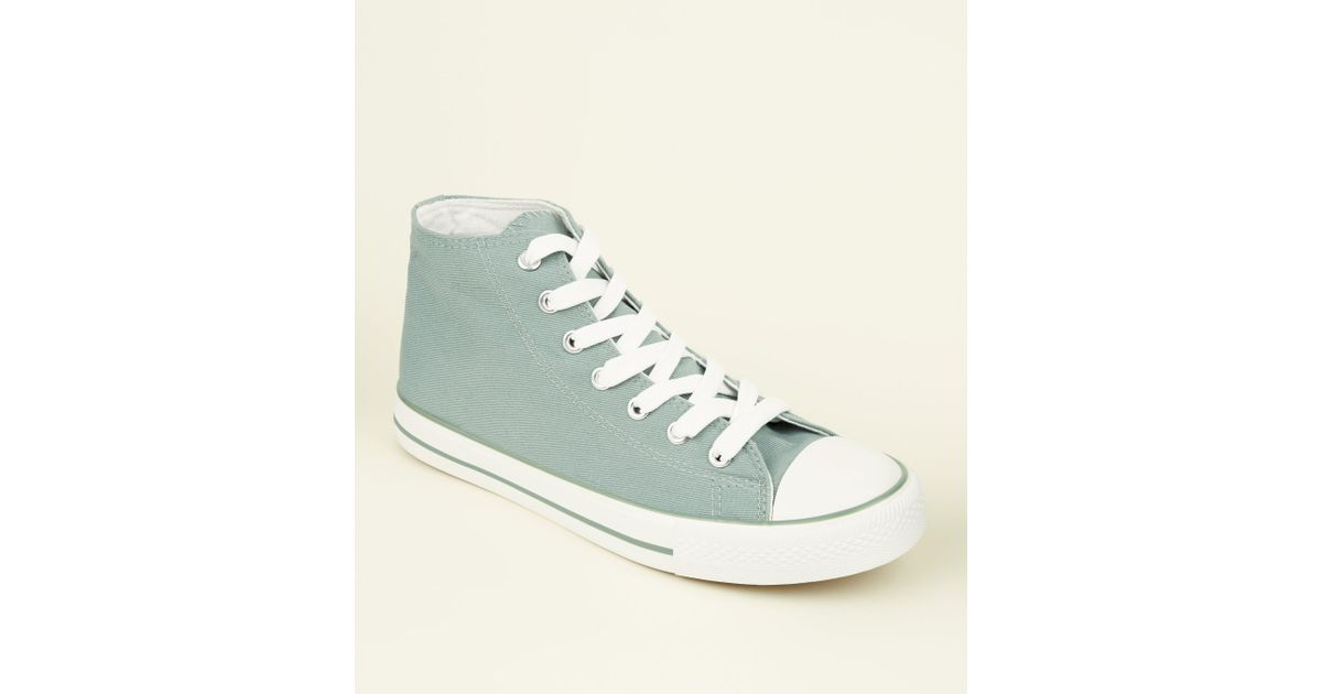 3e8bc7c40723 New Look Mint Green Canvas Stripe Sole High Top Trainers in Green - Lyst