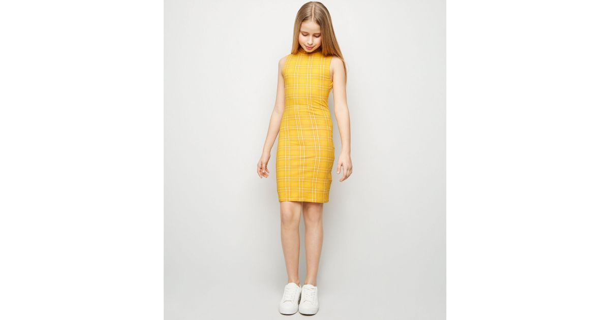 40e194393 New Look Girls Yellow Check High Neck Bodycon Dress in Yellow - Lyst