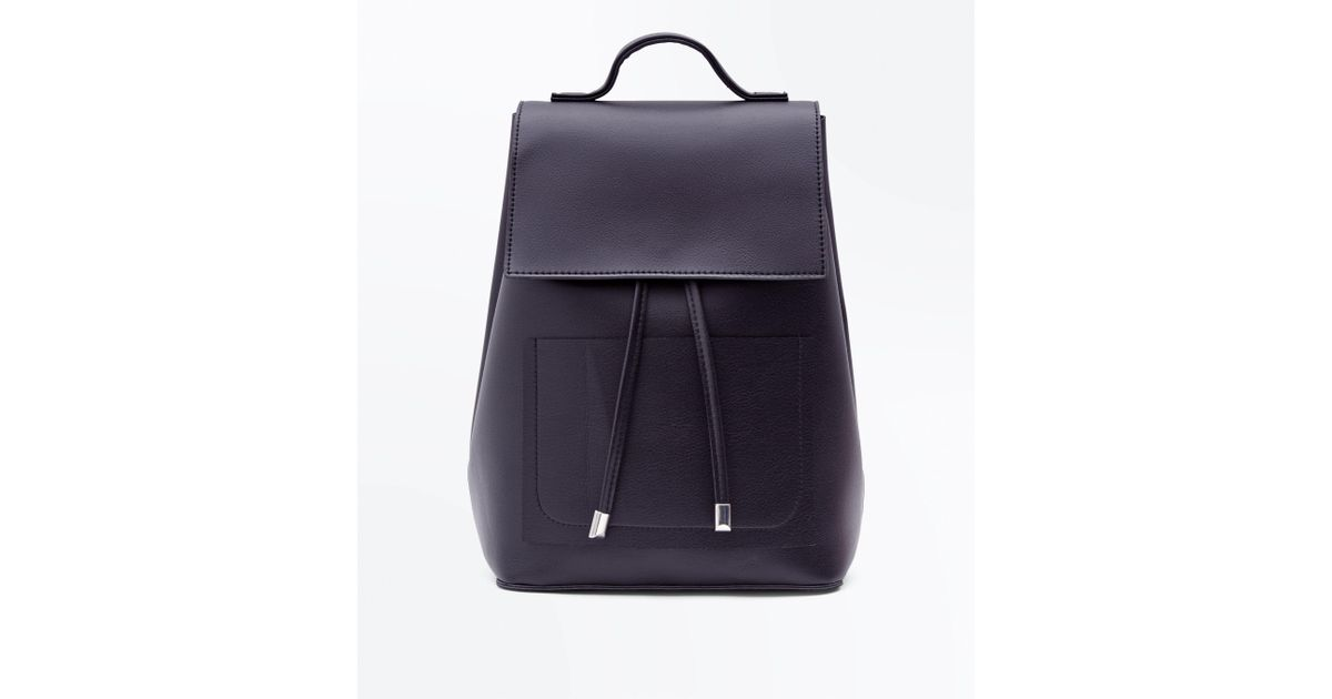 2c61ce4fc New Look Black Drawstring Pocket Front Backpack in Black - Lyst