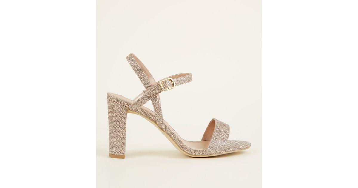 155c916b2919 New Look Wide Fit Rose Gold Glitter Block Heel Sandals in Metallic - Lyst