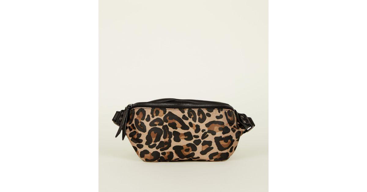 102094ee6a36 New Look Black Leopard Print Bum Bag in Black - Lyst