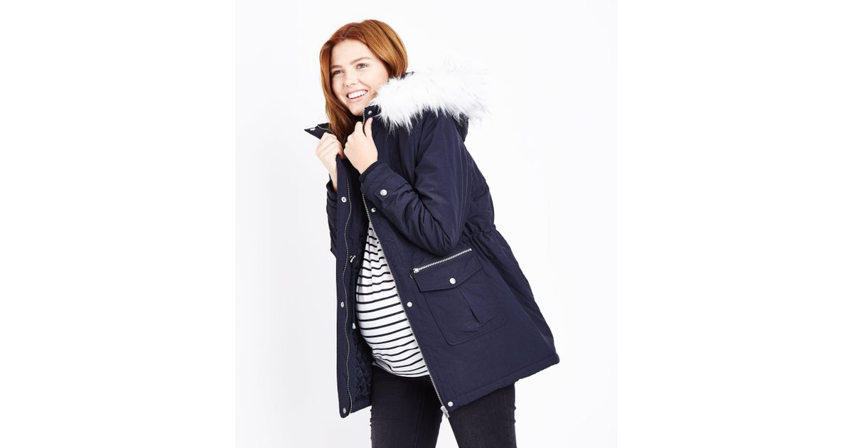 New look Maternity Navy Faux Fur Trim Hooded Parka in Blue | Lyst