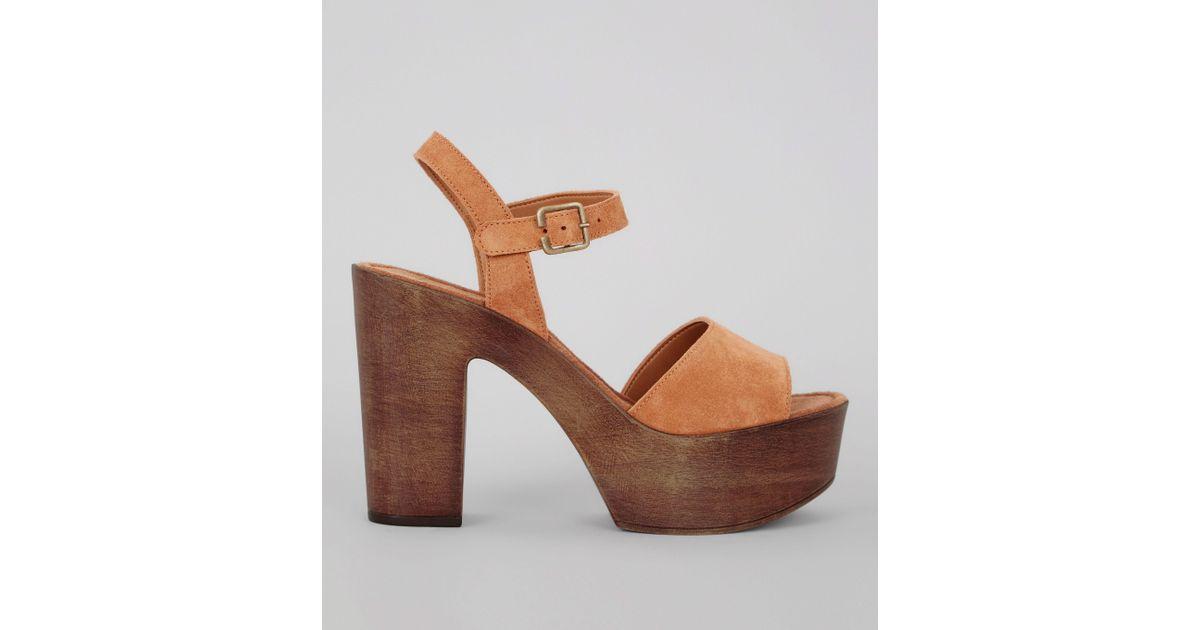 05076c8999 New Look Tan Suede Wooden Block Heeled Sandals in Brown - Lyst