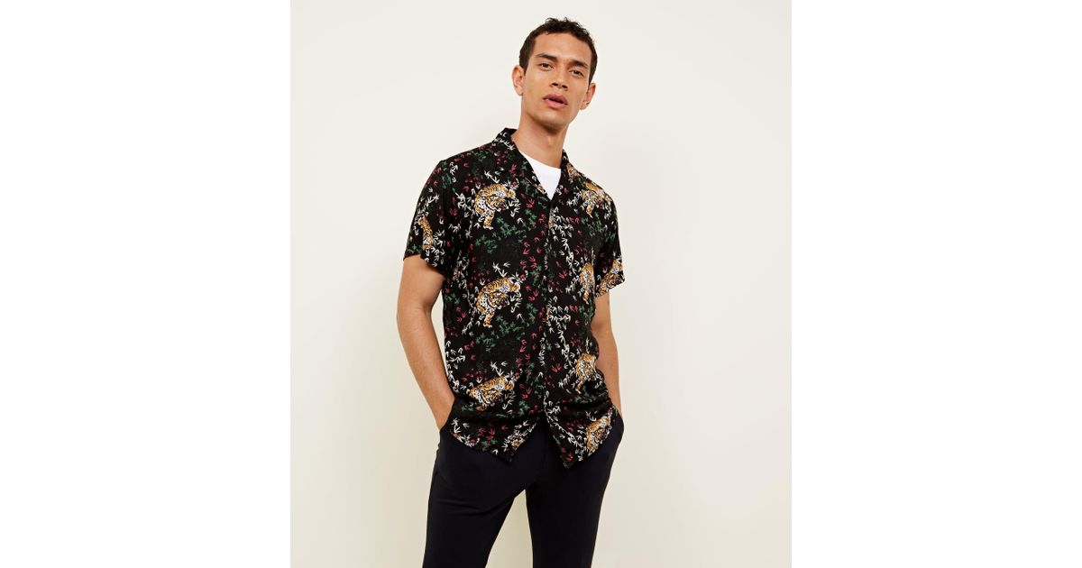 New Look Black Tiger Print Button Through Short Sleeve Shirt in Black for  Men - Lyst d66aa55b5