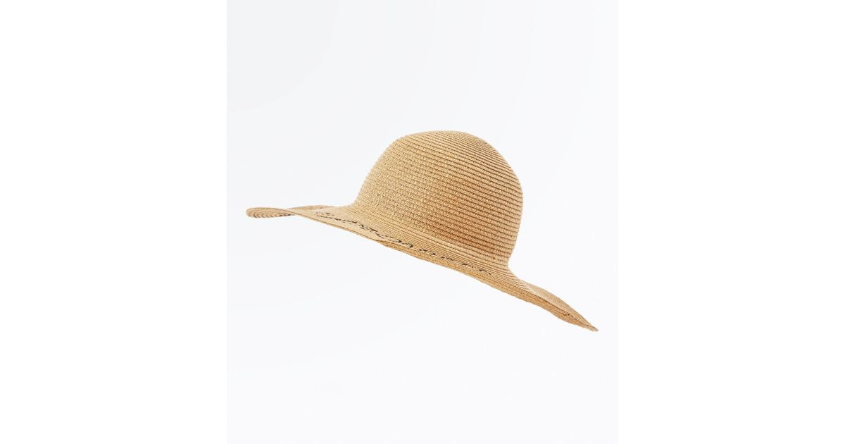 3894e7c0 New Look Tan Prosecco Slogan Straw Floppy Hat in Natural - Lyst