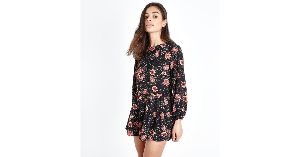e2fa066b7e9 New Look Petite Black Floral Long Sleeve Playsuit in Black - Lyst