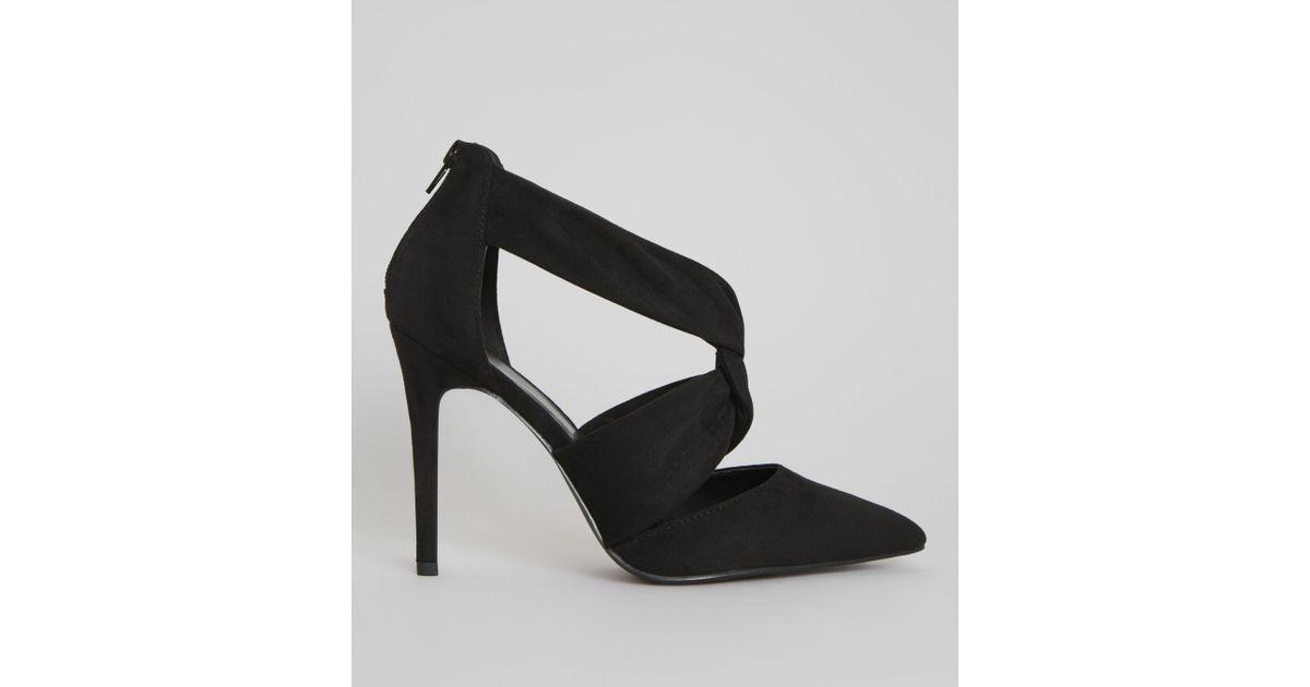 81319b855d2 New Look Wide Fit Black Suedette Twist Strap Pointed Heels in Black - Lyst