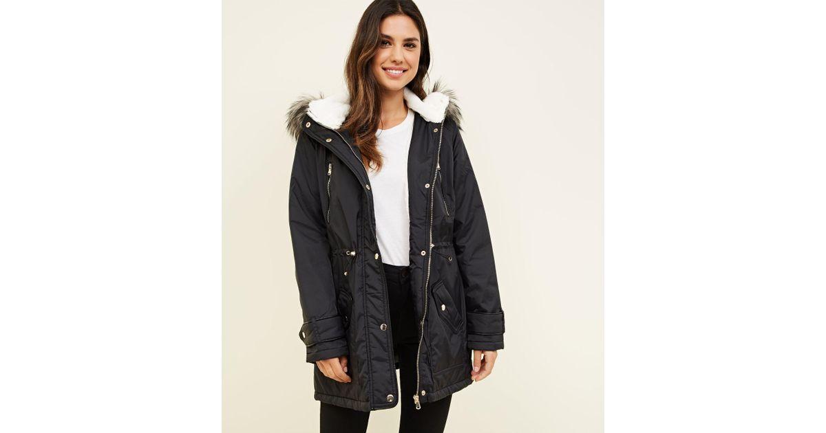 4aa467146cbca New Look Black Faux Fur Lined Hooded Parka Coat in Black - Lyst