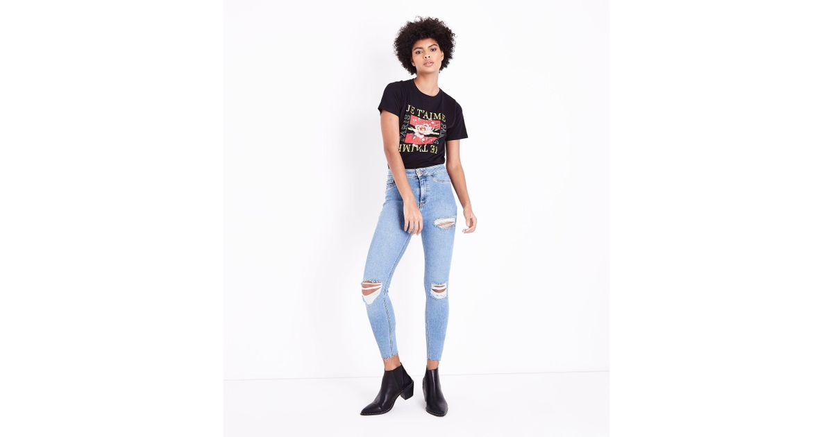 25cd9f18d8eac New Look Pale Blue Ripped High Waist Super Skinny Hallie Jeans in Blue -  Lyst