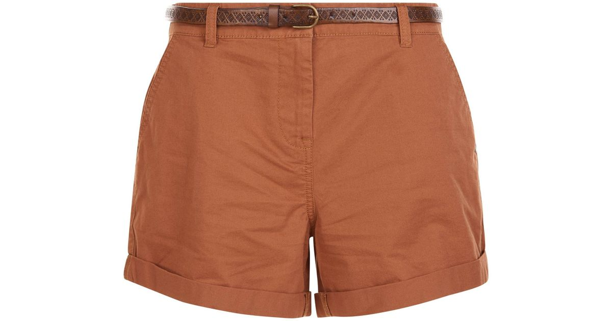 81ef4de557dd86 New Look Tan Belted Chino Shorts in Brown - Lyst