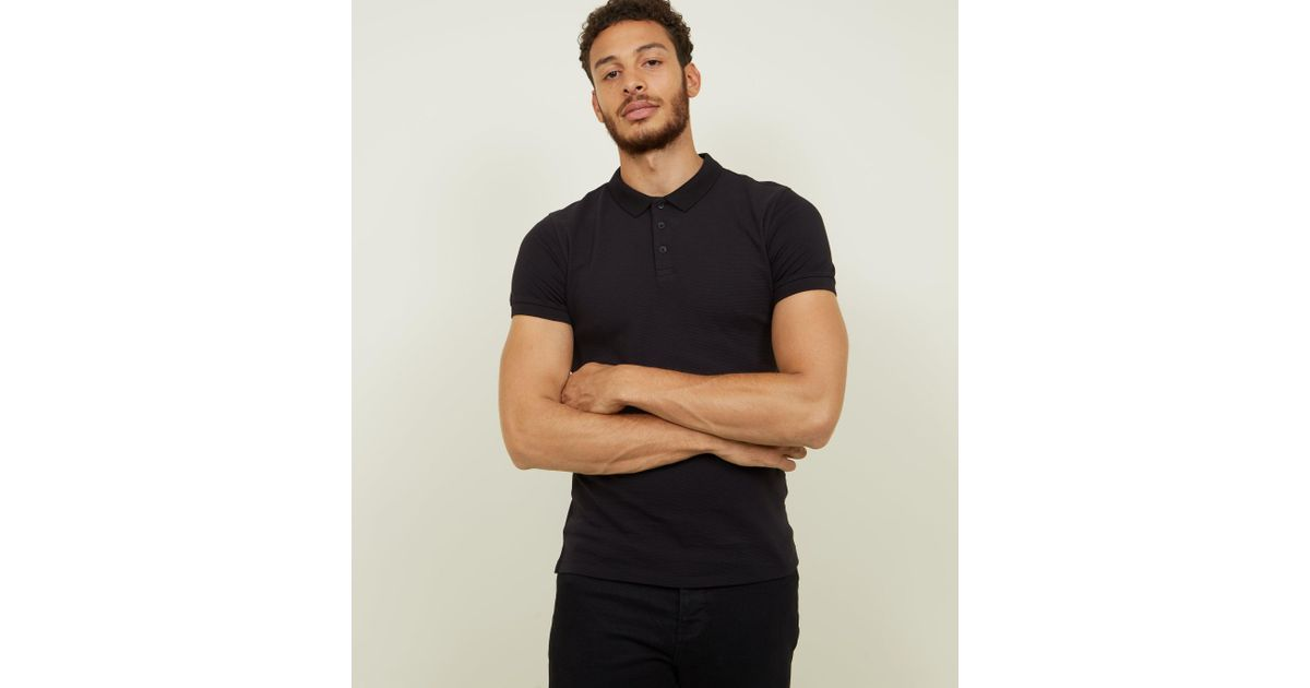 306ff1a5 New Look Black Ribbed Muscle Fit Polo Shirt in Black for Men - Lyst