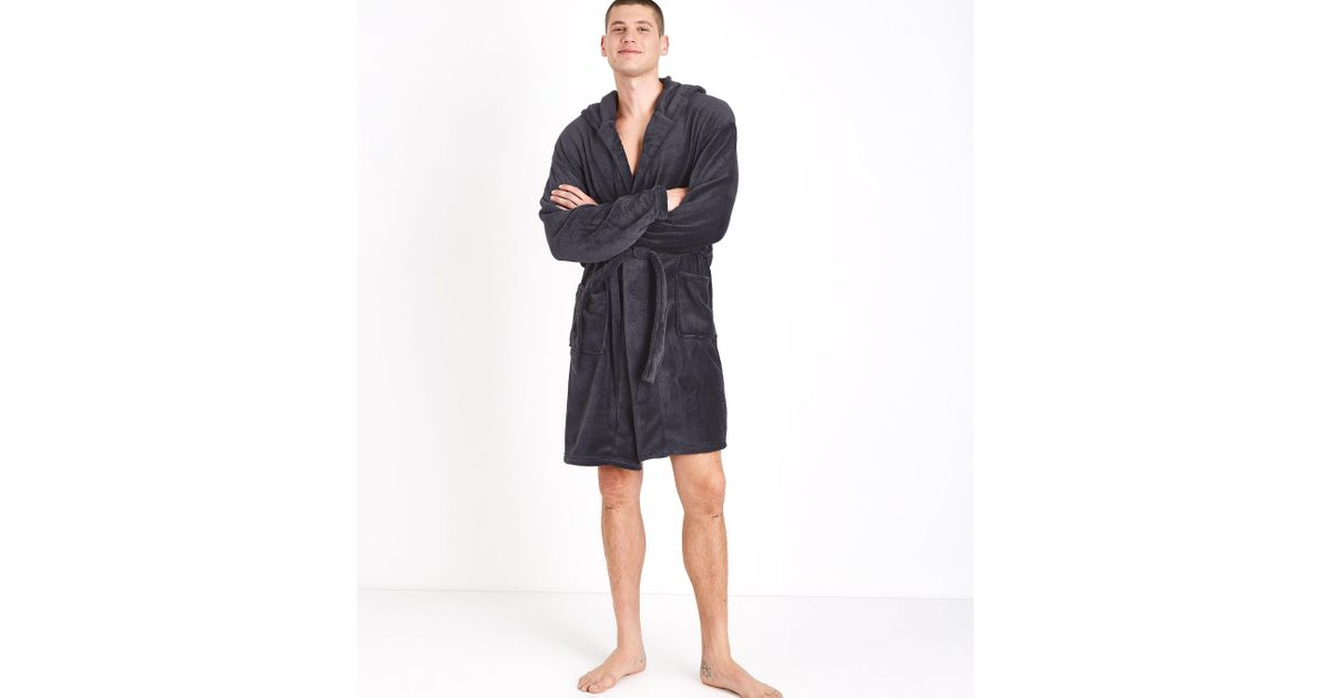 New Look Dark Grey Hooded Dressing Gown in Gray for Men - Lyst