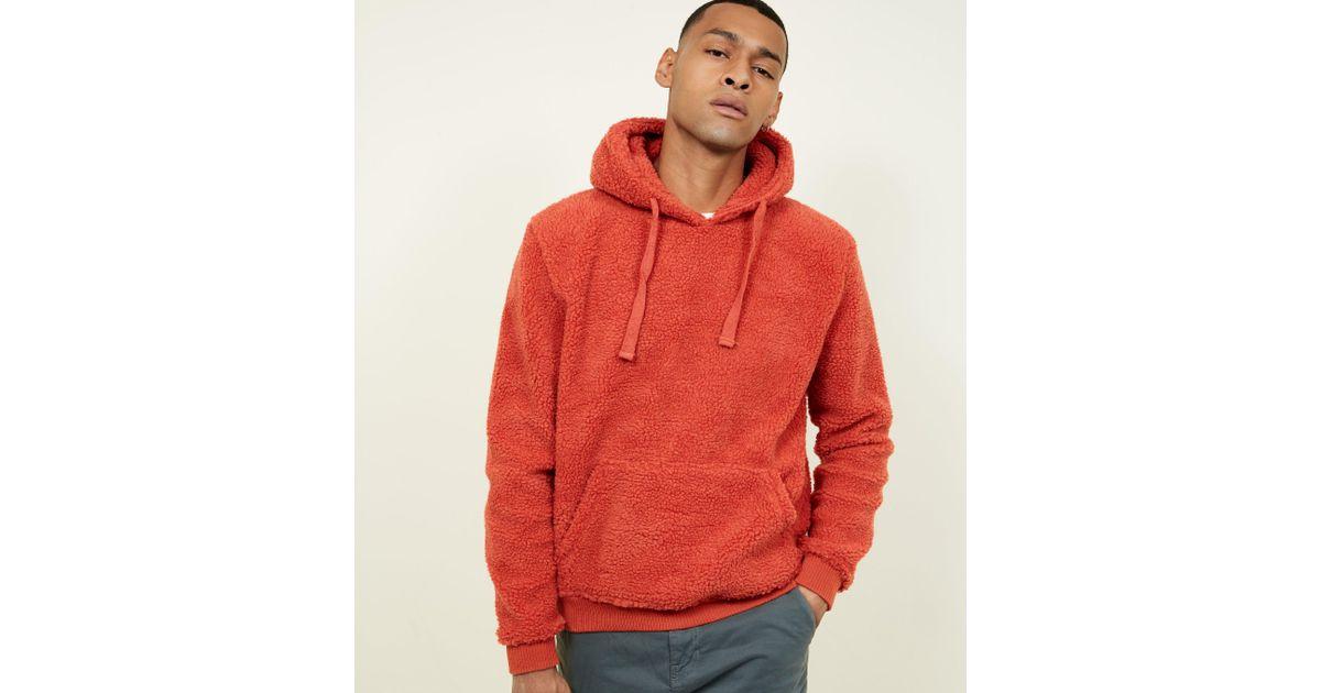 New Look Orange Borg Pocket Front Hoodie in Orange for Men - Lyst 734c06b8d8