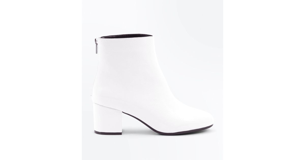 b5f05a29d77b New Look Wide Fit White Patent Block Heel Ankle Boots in White - Lyst